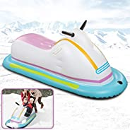 ROYI Inflatable Snowmobile Snow Sled, Kids and Adults Heavy-Duty Giant Snow Tube for Sledding with Reinforced