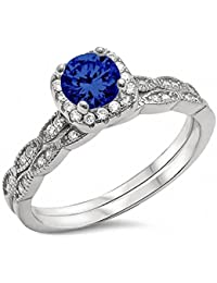 Two Piece Halo Art Deco Wedding Engagement Ring Band 925 Sterling Silver Choose Color