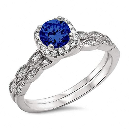 Two Piece Halo Art Deco Wedding Engagement Ring Band Simulated Blue Sapphire 925 Sterling Silver,Size-8 ()