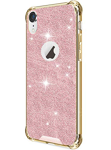 Case Bling Hard Plastic (DAUPIN Compatible for iPhone XR Phone Case Protective Defender Thin Slim Clear Bling Glitter Shockproof Cases Hard Back Plastic Gold Edge Cover for Women Girls for iPhone XR 6.1 inch (Rose Gold))