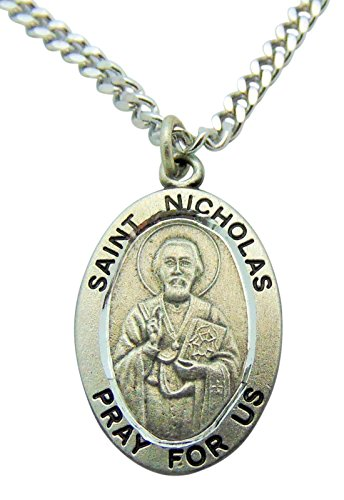 Westman Works St Nicholas Solid Pewter Patron Saint Medal One Inch with Stainless Steel Chain (Saint Medal Nicholas)