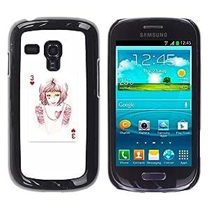LECELL--Funda protectora / Cubierta / Piel For Samsung Galaxy S3 MINI 8190 -- 3 de corazones --