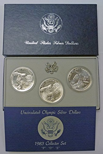 - 1983 Various Mint Marks Commemorative Set 1983 Uncirculated Olympic Silver Dollars OGP