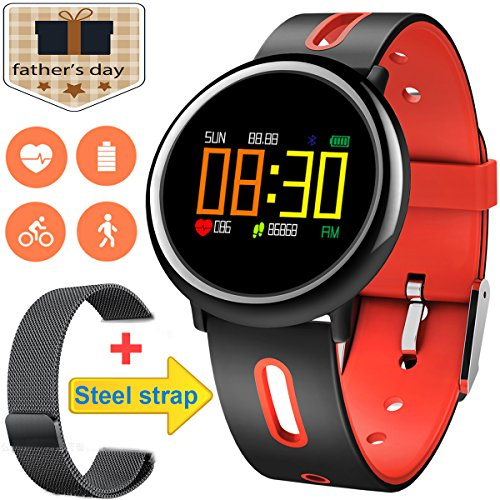[2Band Steel&Silicone]Sport Fitness Tracker Smart Watch for Men Father Day Women IP67 Waterproof Heart Rate Blood Pressure Pedometer Sleep Monitor Activity Tracker Swim Run Outdoor iOS Android (Red) by GreaSmart (Image #2)