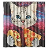 66(Width)x 72(Height) Special Design Eating Pizza Space Cat Waterproof Bathroom Shower Curtain,Bathroom decor by Space Cat Shower Curtain