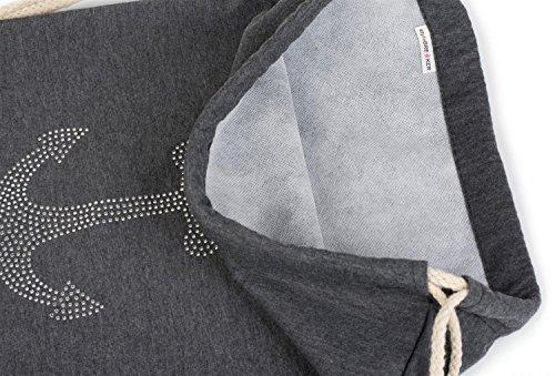 styleBREAKER bolsa de deporte con aplicación de ancla de estrás, mochila de piedras brillantes, bolsa, unisex 02012124, color:Gris claro jaspeado Negro