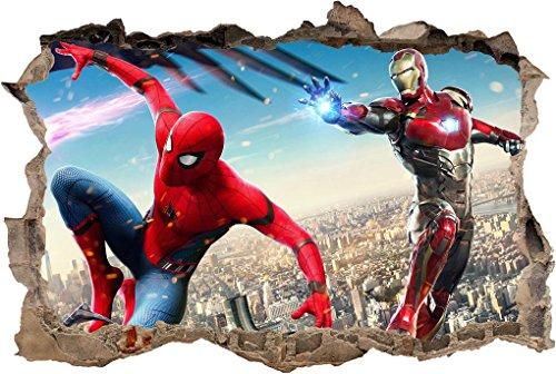 (Spider Man Iron Man 3D Smashed Wall Sticker Decal Decor Art Mural Marvel J740, Huge)