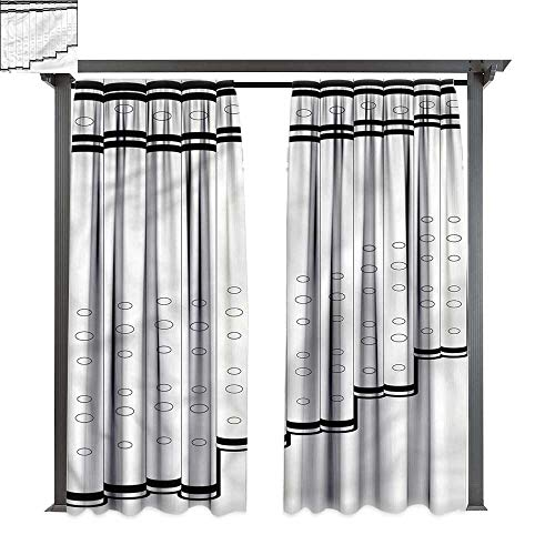 cobeDecor Thermal Insulated Drapes Panpipe Pan Flute Tubes Monochrome for Lawn & Garden, Water & Wind Proof W108 xL84 - Pans Slate