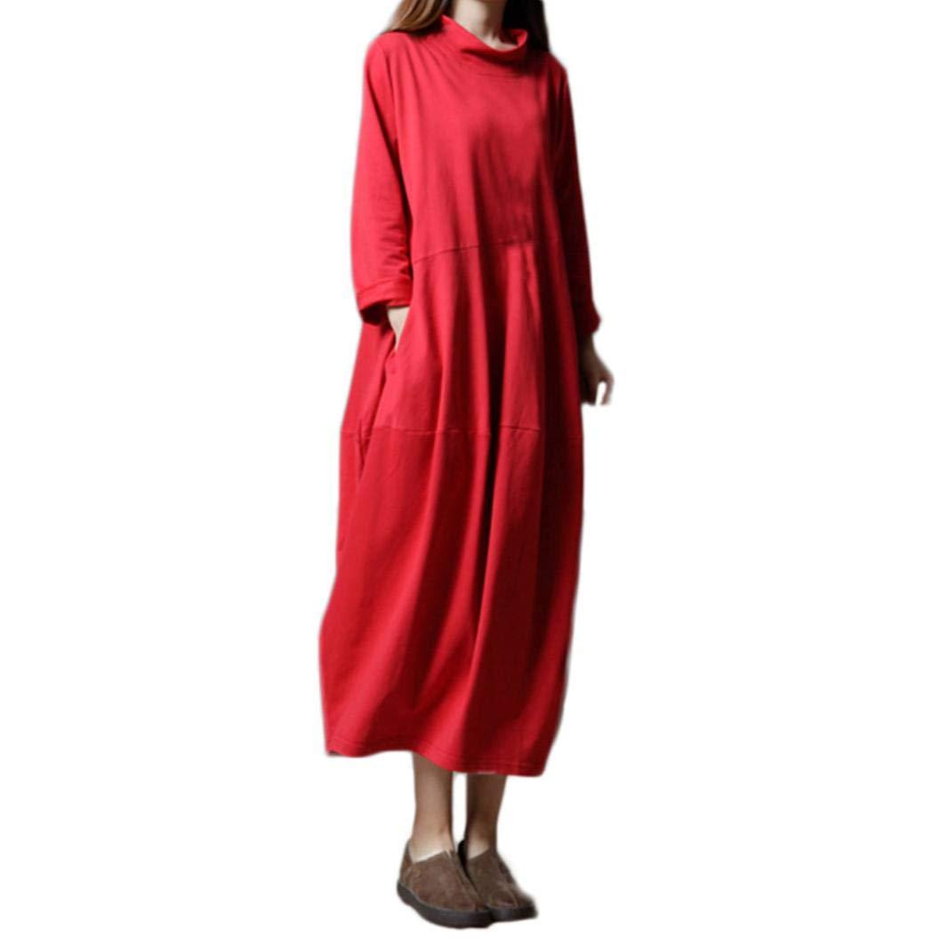 Chrikathy Women New Boho Ethnic Cotton Linen Turtleneck Loose Long Sleeve Dress by Chrikathy Women Dressess