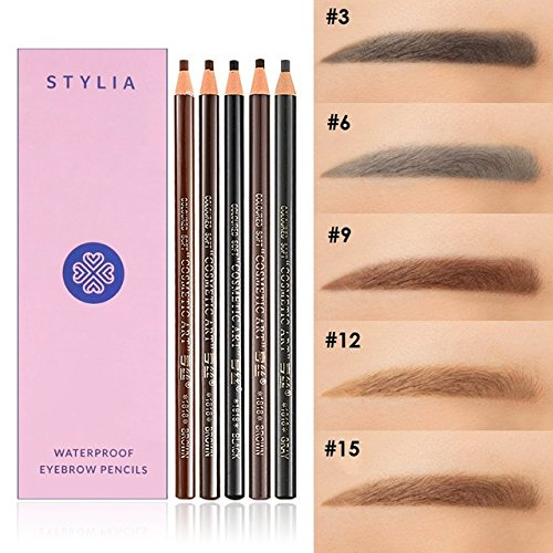 Waterproof Eyebrow Pencils Peel Off - Brow Pencil Set For Marking, Filling And Outlining, 12 Piece Tattoo Makeup And Microblading Supplies Kit-Permanent Eye Brow Liners In 5 Colors