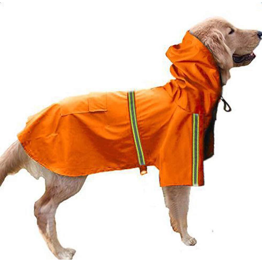 orange 5XL orange 5XL Dog Raincoat,Pet Hooded Adjustable Waterproof Reflective Jacket,orange,5XL