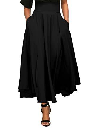 667cbd4d7 FUSENFENG Women's Vintage Solid High Waist A Line Long Dress Pleated Belted  Maxi Skirts (S