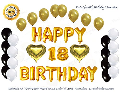 Golden Happy 18th Birthday Decorations Letters Balloon Set 16 Inch Gold Letter Mylar Foil Bonus Metallic Balloons With 2 Heart Shape