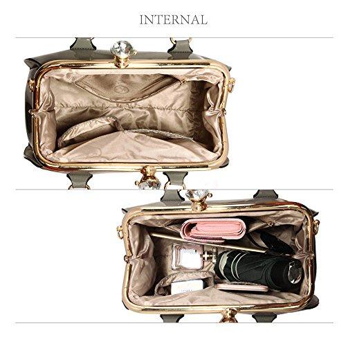 Bolsos de mujer, bolsos de mujer de diseñadores y famosos en piel sintética, bolsa tote patentada gris