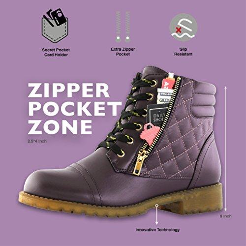 DailyShoes Women's Military Kampfstiefel Quilted Wandern Schnürung Schnalle Knöchelhoch Exklusive Kreditkarten-Tasche Premium Lila Pu