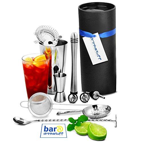 bar@drinkstuff Barkeeper-Set, Mixer und Glas, verdrehtem Mischlöffel, Ausgießer, Messbecher und 3 Sieben