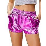 Aoheuo Women's Shiny Metallic Pants, Sparkly Hot Yoga Shorts