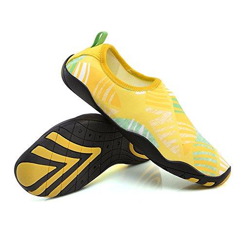 YIRUIYA Frauen Männer Quick-Dry Barfuß Wasser Schuhe Haut Aqua Socken Mit Entwässerung Löcher ¡ Gelb-neu