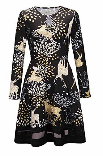 Tunic A Dresses Elk Christmas Black Line Sleeve Long Xmas Casual Women s Shirt Skirt t7TxP07