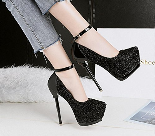 Chaussures Haute Travail Boucle Cheville Nuit EUR36UK354 de Sexy Talon Fête Femmes Tribunal Sangle Stylet Boîte Pointu Forme Noir BLACK Plate Robe NVXIE 67ptnx7