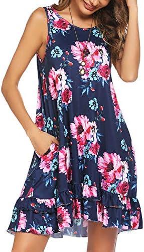 Beyove Womens Casual Dresses Sleeveless Tunic Summer Dress with Pockets Loose Ruffle Tank Dress S-XXL