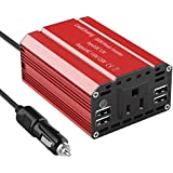 Leadchuang 300W Power Inverter DC 12V to AC 110V Car Inverter with 4 USB Charging Ports Car Adapter with AC Outlets & Durable Cigarette Lighter Plug AC Car Converter for Charging&Running Devices