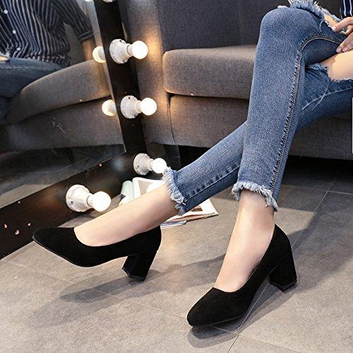 Rétro Chaussures Sauvage et des Chaussures Noir avec Lumière Mode Femme Satin 37 Femelle Simples Fat yalanshop U0Hwqz0