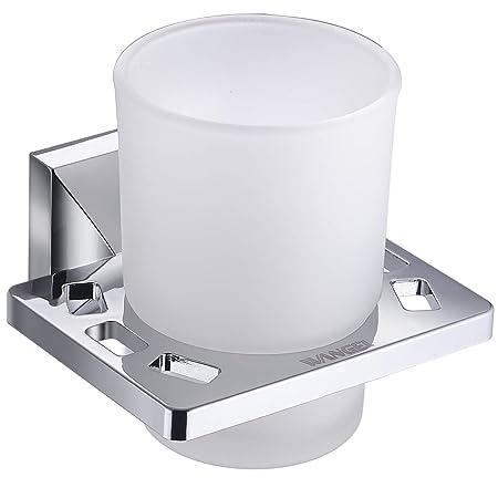 Moderno Cromato Soak Accessorio Bagno Porta Spazzolini da Parete con Bicchiere Quadrato