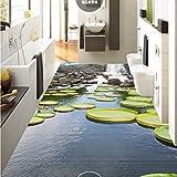 BZDHWWH Waterfall Lotus Leaf Lotus Pond 3D Floor Painting Wear Non-Slip Waterproof Bedroom Kitchen Square Flooring Mural,60Cm X 90Cm
