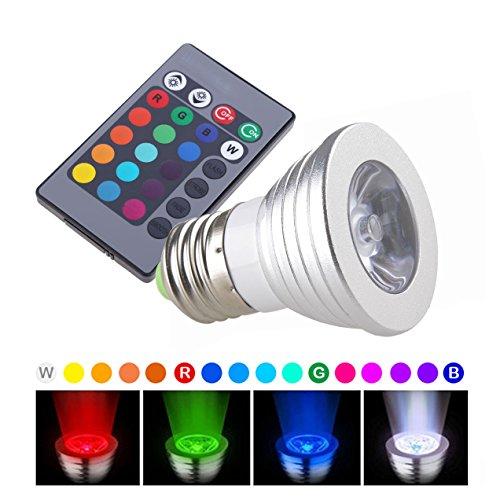 2× New E27 Color Changing 3W RGB LED Light Bulb Lamp 100-240V +IR Remote (Empire Remote Bulb)