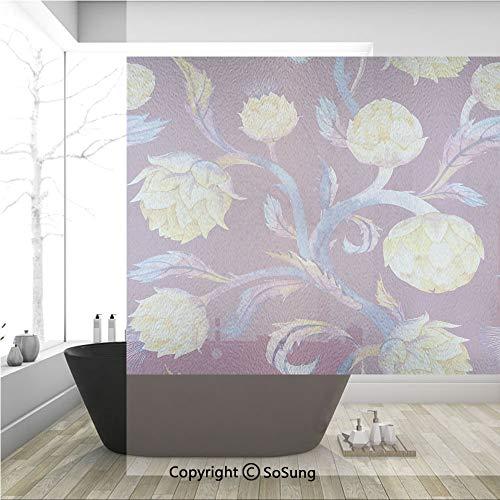 (3D Decorative Privacy Window Films,Art Nouveau Style Arrangement with Vibrant Colored Vegetable Vegan Decorative,No-Glue Self Static Cling Glass film for Home Bedroom Bathroom Kitchen Office 36x36 Inc)