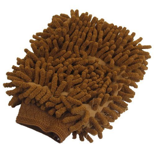 uxcell Microfiber Chenille Wash Mitt Mitten Car Cleaning Glove Brown
