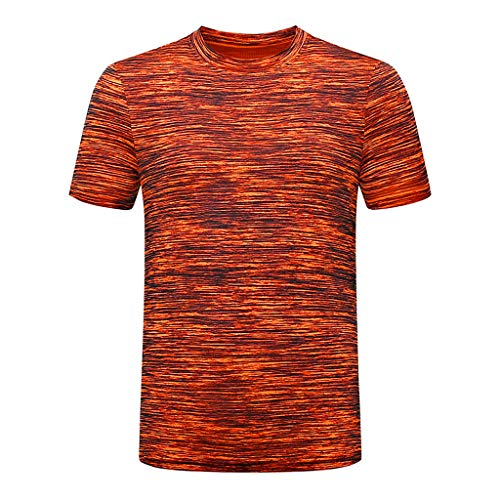 UULIKE Men's Short Sleeves Tops Summer Casual Pure Color O Neck Elastic T-Shirt Blouse Sport Running Training Clothing…