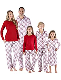 christmas family matching grey plaid flannel pjs sets for the family