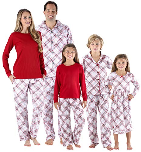 SleepytimePjs Christmas Family Matching Grey and Red Plaid Flannel PJs Sets for The Family- Women's Lounge Set, Small -
