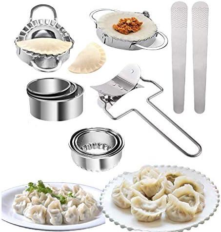 Frunimall 11 Stks Dumplings Maker Set Dumpling Maker en Cutter Ravioli Dumpling Machine Wonton Maker Mould of Roestvrij Staal Dumpling Mould Accessoires voor Thuis Keuken