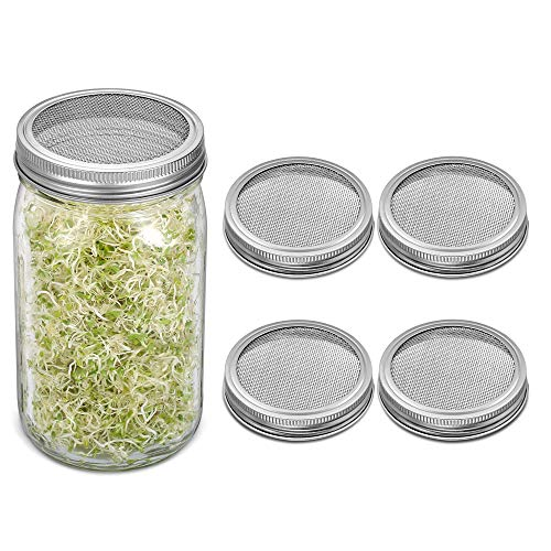 4 Pack Sprouting Lids, Rust Resistant Stainless Steel Strainer Lid for Wide Mouth Mason Jars Canning Jars, Sprouting Jar Lid Kit for Growing Organic Sprout Seeds in House/Kitchen ()