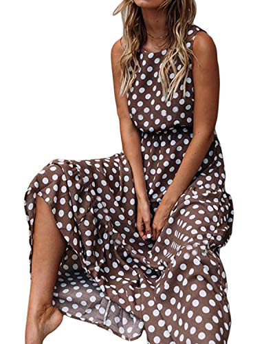 Salamola Women's Polka Dot Round Neck Sleeveless Boho Maxi Dresses Female Sundresses(Coffee,X-Large)