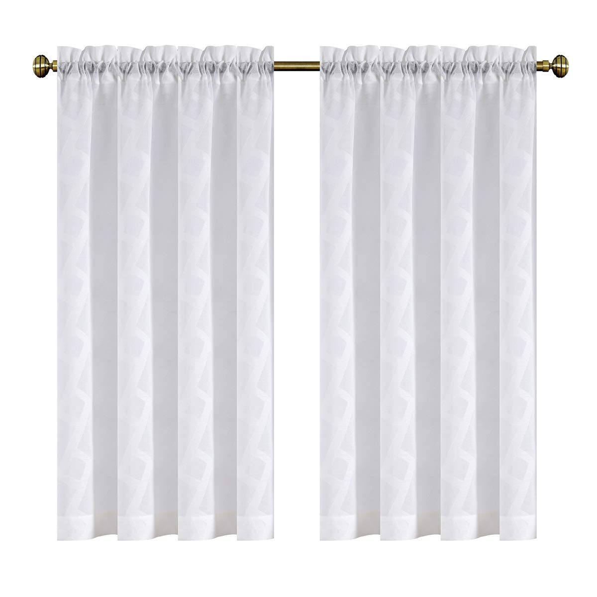 Kotile Window Treatment Drapes Sheer Curtain Panels Rod Pocket Solid Striped Elegant Jacquard Semi Sheer Draperies for Patio Glass Door (54 by 84 Inch, 2 Panels, White)