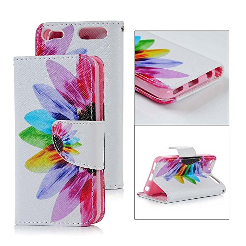 iPod Touch 6 Wallet Case,MOLLYCOOCLE Colored Petals Leaves Flower Floral PU Leather Flip Folio Wallet Case with Kickstand Credit Card Holder Lightwight Soft TPU Bumper for iPod Touch 5 & 6 - White (Ipod Touch 5th Gen String)