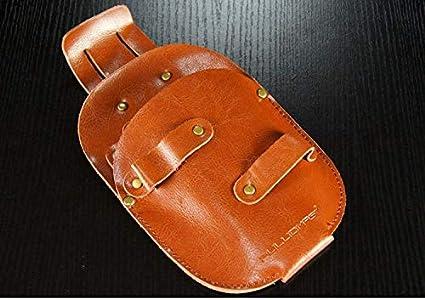 LIBILAA Peluquería Peluquería de cuero Peine Peluquero profesional Peluquería Tijeras Kit de cintura Bolsa de caldera (Color : Marrón)