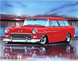 1955 Chevy Nomad Hot Rod Car Art Print Red 11x14 Poster