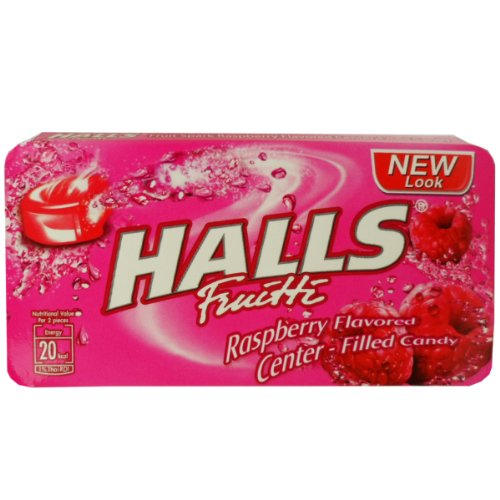 Halls Fruitti Center Filled Candy Snack Raspberry Flavored Net Wt 22.4 G (8 Pellets) X 3 Boxes