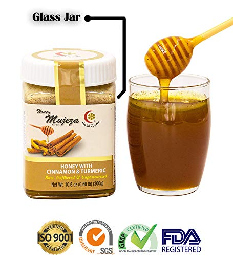 Mujeza Honey 100% Pure Raw Honey with Cinnamon Ceylon & Turmeric - Pure Natural Honey - Unheated Honey Unfiltered Natural Cinnamon & Turmeric Honey (Different Sizes Available) (300g / 10.6 oz)