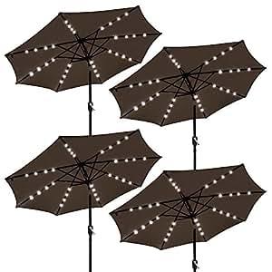 Yescom 9' Outdoor Patio Aluminium Umbrella 32 Solar Powered LED Crank Tilt UV30+ 180g Cover Chocolate (Pack of 4)