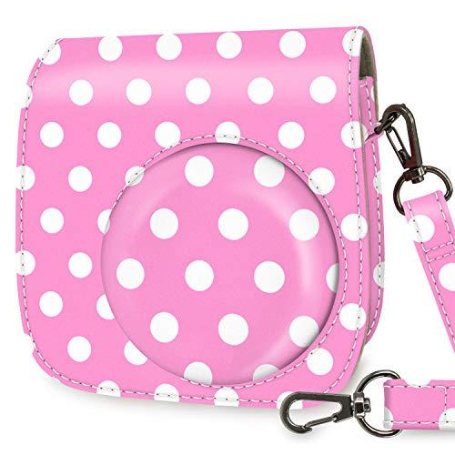 WOLVEN Protective Case Bag Purse Compatible with Mini 9 / Mini 8 / Mini 8+ Instant Camera, Pink Plka Dots