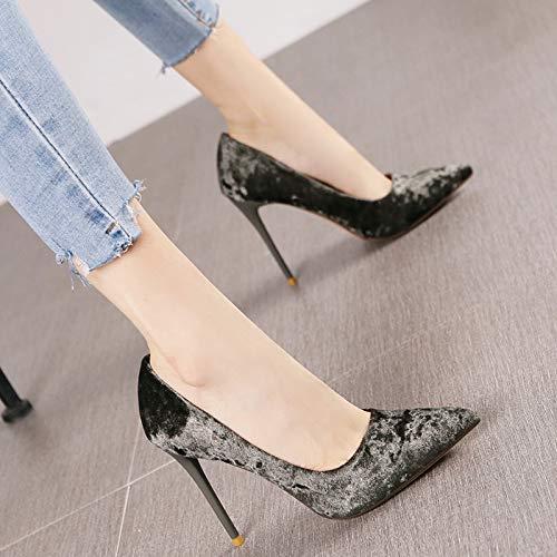 HRCxue Pumps Spitze Diamant Samt flachen Mund Mund Mund Stilett Super High Heels Mode Persönlichkeit Champagner Farbe einzelne Schuhe weiblich, 34, grün e2971c