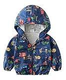 lymanchi Kids Baby Boy Casual Windbreaker Outerwear Dinosaur Printed Zipper Hooded Jackets Coat Car 3T