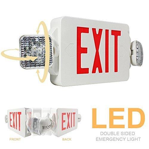 eTopLighting 1PCS LED Exit Sign Emergency Lighting Emergency LED Light (UL924, ETL listed) / Rotate LED Lamp Head / Red Letter, EL2CR-1