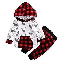 Baby Boy Girl 2pcs Christmas Suit Hoodies Deer Print Long Sleeve Top+Plaid Pants